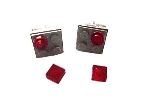 English Gems Boutons de manchette avec Gris briques de construction Lego® et autres pièces en velours Boîte à boutons de manchette