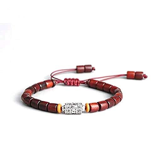 Handmade Tibetan Prayer Wheel Bead Bracelet Tibetan Buddhist Mantra Sign Charm Natural Sanders Wood Mala Beads Bracelet