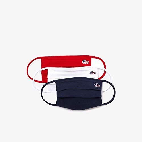Lacoste RF6101-51 unisex adult Lacoste Cotton Piquà Face Mask Bandana, Navy Blue/White/Red, ONE SIZE US