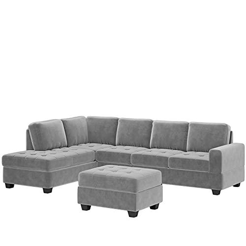 FLHLH Sofá de 6 plazas con sillón reclinable convertible y reposapiés de almacenamiento en forma de L, compra este juego de sofá satisfará todas tus necesidades para cualquier mobiliario (color: gris)