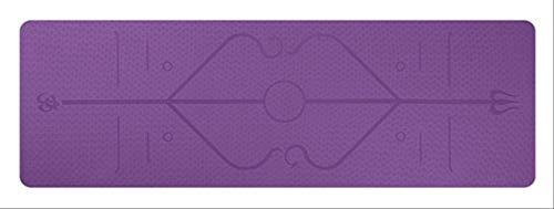 Ollt TPE Yoga Mat con Linea di Posizione Tappetino Antiscivolo Tappeto ad Alta densità per Principianti Fitness Ambientale Tappetino per Ginnastica Viola