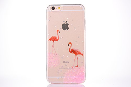 CrazyLemon pour iPhone 6S Coque, pour iPhone 6 Couverture TPU, Soft Varnish Technologie TPU Silicone Gel Caoutchouc Peau 3D Relief Motif Conception Coque pour iPhone 6 / 6S - Flamants Roses