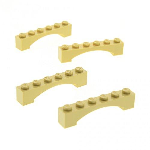 Preisvergleich Produktbild 4 x Lego System Bogenstein beige tan 1 x 6 Bögen rund Bogen Brücke Burg Tor Castle Arch für Set Star Wars 79004 75059 75095 10214 92950
