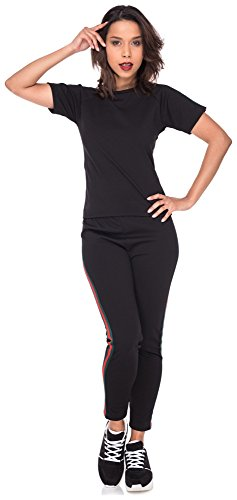 Tweedelige suit set strepen shirt leggings strepen dames twopiece broek T-shirt top