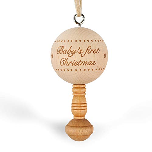 Creawoo Baby's First Christmas 2020, Wooden Christmas Tree Ornaments, Family Holiday Keepsake Gift for New Born Baby Boys, Girls and New Parents (Dated 2020 Baby Rattle)