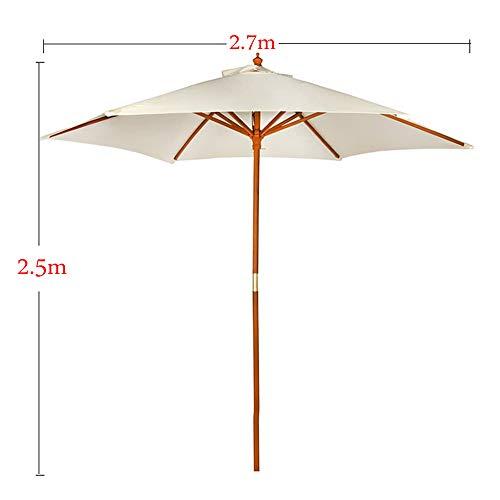 Parasol Sombrilla de jardín de Madera de Ø270cm, Poste de Madera Maciza de Ø38mm, Playa con protección UPF50 Octogonal de poliéster-Blanco CMXZ