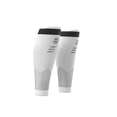 Compressport R2V2 - Manga de compresión para las pantorrillas - Protección muscular, rendimiento y recuperación para el deporte - Ultraligero y anti-fatiga - Correr, Ciclismo, Trail y Triatlón, Blanco