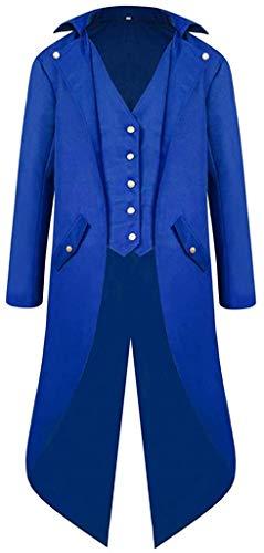 Gentlemen Men's Coat Fashion Steampunk Vintage Tailcoat Jacket Gothic Victorian Frock Coat Party Uniform Outwear,Blue,XXXX-Large