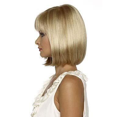 LEZDPP Mesdames Artificielle Perruque Brune Droite Courte Bob Coiffure résistant à la Chaleur Pleine Perruque de Cheveux (Color : A)
