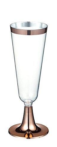 Juego de 50 copas de champán de plástico para brindar, copas decorativas para fiestas de inauguración de la casa, eventos formales y celebraciones de graduación, color rosa dorado, 147 ml