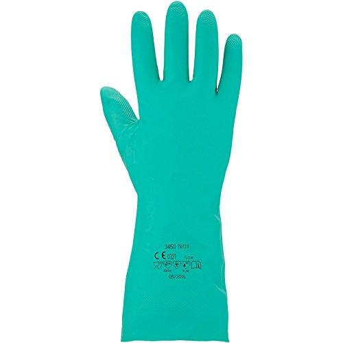 Asatex 3450 Nitril Gants de protection chimique, Vert, Taille 10