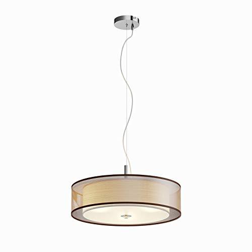 LED Lámpara colgante 'Pikka' (Moderno) en Marrón hecho de Textura, Tela, Tejido, Seda e.o. para Salón & Comedor (3 llamas, E27, A+) de Lindby   lámpara colgante textil, plafón, lámpara de techo