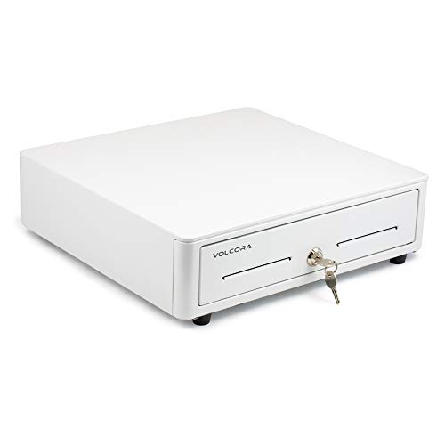 Mini Cash Register Drawer for Point of Sale (POS) System with Round Edges - Fully Removable 2-Tier 4 Bill 5 Coin Cash Tray, 24V, RJ11/RJ12 Key-Lock, Media Slot, White - for Stores and Business