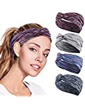ZIQIAN 4 Pack Women Headband Criss Cross Head Wrap Fashion Bow Knotted Hair Band Non Slip Elastic Sweat Sports Hairband for men Girl