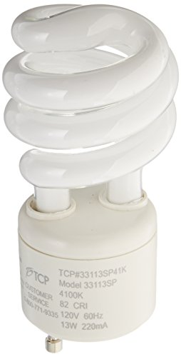 TCP 33113SP41K CFL Spring Lamp - 60 Watt Equivalent (Only 13w used!) Cool White (4100K) General Purpose Spiral Light Bulb - GU24 Base