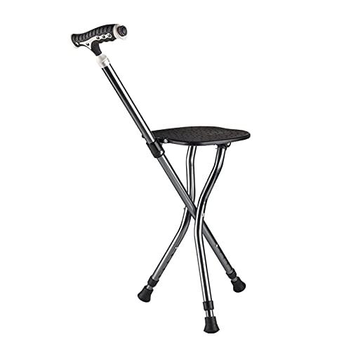 DTDMY Pasillo de Aluminio con Silla de Masaje Asiento Plegable Bastón, Bastones Ajustables en Altura con luz LED, Asas cómodas y Base Antideslizante