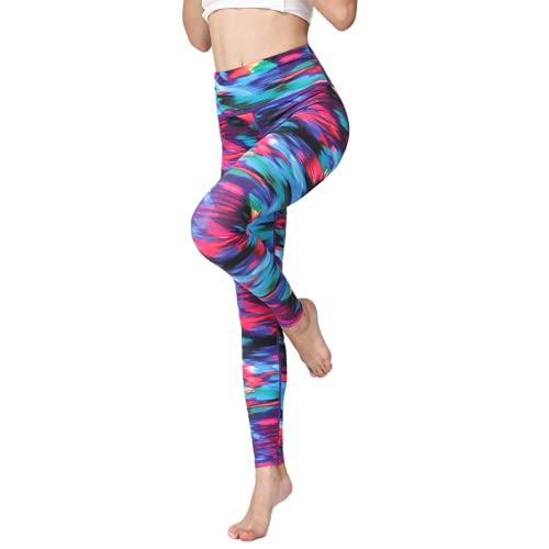 QTJY Color Flores Fitness Yoga Pantalones Damas Moda Estiramiento Deportes Yoga Pantalones al Aire Libre Correr Fitness Yoga Pantalones F L