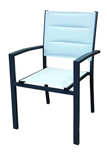 CHILLVERT KCH150 - Silla de Jardín Sicilia Aluminio/Textilene apilable 57x58x90 cm