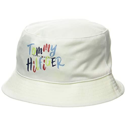 Tommy Hilfiger Bucket Hat Logo Rev Cappellopello, Rosa (White/Pink Mix 0jv), X-Large (Taglia Unica: L-XL) Bambina