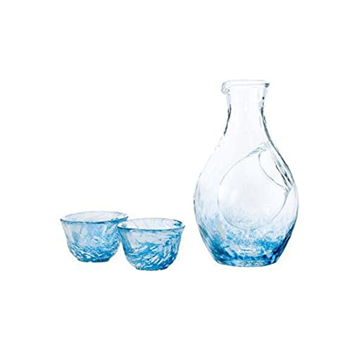 HQQ Sake japonés y Creativo hervidor de Agua fría Hecho a Mano Sake Copa Hombre de Cristal Himisyuki Blue