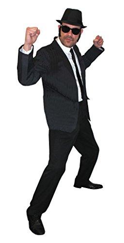 I LOVE FANCY DRESS LTD MÄNNER SCHWARZEN Hosenanzug=Soul SÄNGER= DAS PERFEKTE KOSTÜM FÜR Jede Art DER KOSTÜMIERUNG = BEINHALTET -Anzug+Hut+Krawatte+Brille+SEITENKOTLETTEN=Large+HUT/58cm