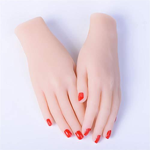 AFYH Silikon-Handmodell, weiche Hände Gefälschte Hände für weibliche Hände Modell Schaufensterpuppe Schmuck Ring Handschuh Armband Armreif Skizze Nageldisplay,C Two Hands