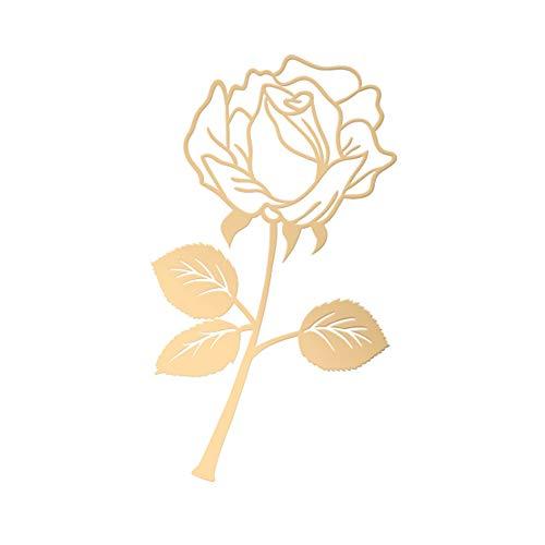 UFREE - Marcap¨¢ginas de metal en forma de rosa, dise?o de hoja de acero rosa, ideal como regalo para lectores, mujeres y ni?os (dorado)