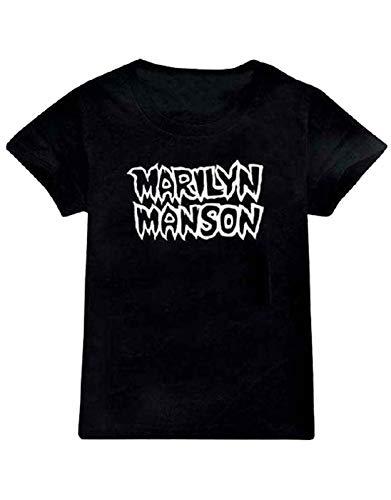 Rock Off Marilyn Manson Kids T Shirt Classic Logo Nouveau Officiel Noir Ages 5-14 yrs Size l