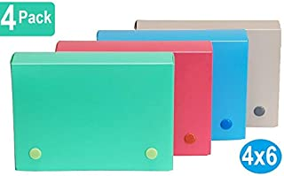 1InTheOffice Index Card Case, 4x6 Index Card Holder, Assorted Colors (4 Pack)