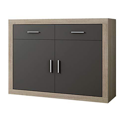 Mueble Aparador 2 Puertas + 2 cajones, Buffet para Cocina y Comedor, Modelo Lara, Acabado en Color Cambria y Grafito, Medidas: 120 cm (Largo) x 41,4 cm (Fondo) x 90,2 cm (Alto)