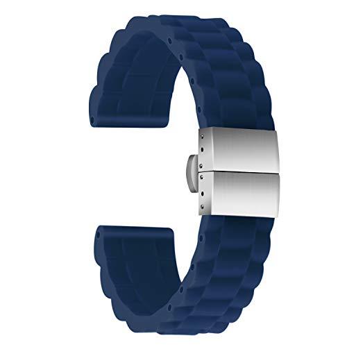 Ullchro Correa Reloj Calidad Alta Recambios Correa Relojes Caucho Link Pattern - 16mm, 18mm, 20mm, 22mm, 24mm Silicona Correa Reloj con Acero Inoxidable Hebilla desplegable (16mm, Azul)