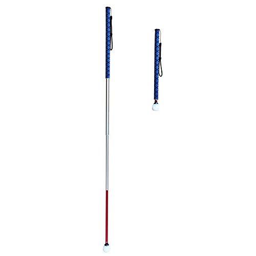 VISIONU Bastón Telescópico Blanco de 4 Secciones Aluminio para Invidentes y Baja Vision, con 2 Punta (Mango de Azul) ✅