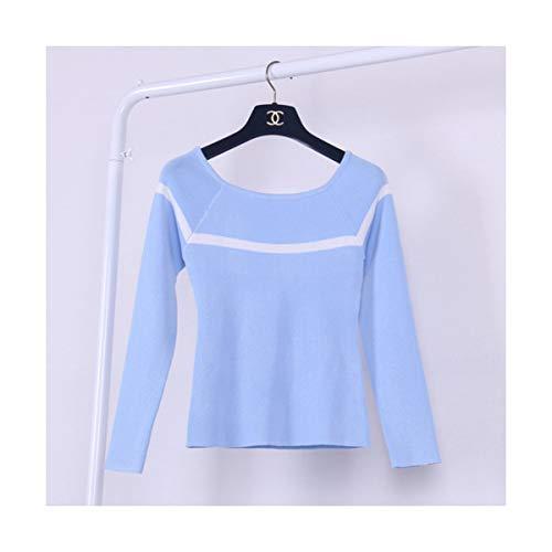 SIKESONG Alle-Match Schlanke Gestreiften Pullover Pullover Stricken Frauen Frühling Herbst Korea Langarm U-Boot-Ausschnitt Pullover, Blau, One Size