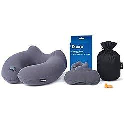 IZUKU Reisekissen Ideal für Reise Büro und Haus Nackenkissen mit stützenender Funktion Aufblasbares Nackenhörnchen mit Dem egornomischen Entwurf Weiches Nackstützenkissen(Grau)