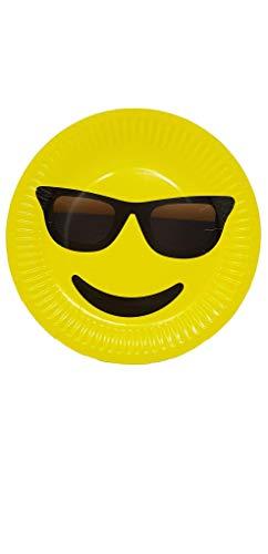 AEX 23 cm Emoji partyplaten van papier (zonnebril)
