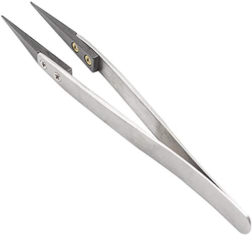 FEITA Black Pointed Ceramic Tip Tweezers - Precision Stainless Steel Vape Tweezer for Coil Master, DIY Hobby (1 Pc)