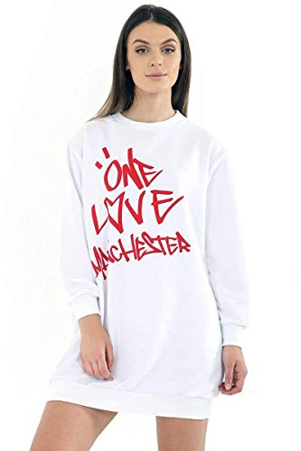 Classy Fashion Damen Mädchen Celeb Ariana Oversized Baggy Lose One Love Manchester Sweatshirt Top Tunika Kleid T-Shirt (SM, Weiß)