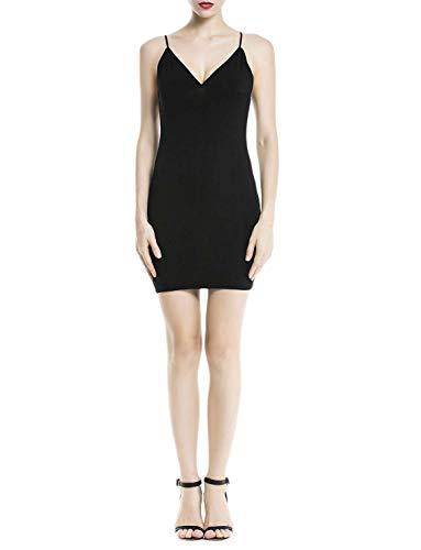 iB-iP Femme Modal Coton Fond De Robe Moulante Sangle Spaghetti Mode Courte Robe, Taille: 36, Noir