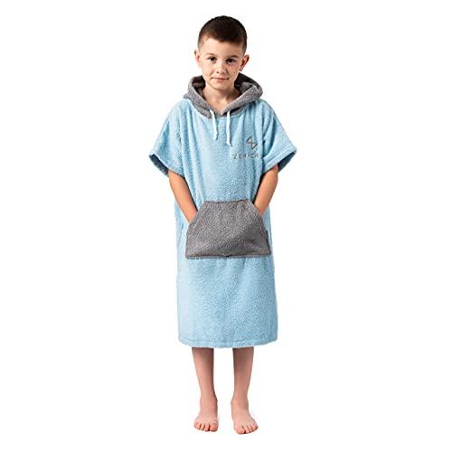 Poncho Kinder Badetuch 100% Baumwolle hellblau – Badeponcho Kinder, Handtuch Poncho Kinder mit Kapuze - Mädchen und Jungen Surfponcho, Umziehhilfe, Strand schwimmen Kapuzenbadetuch 6-13 Jahre