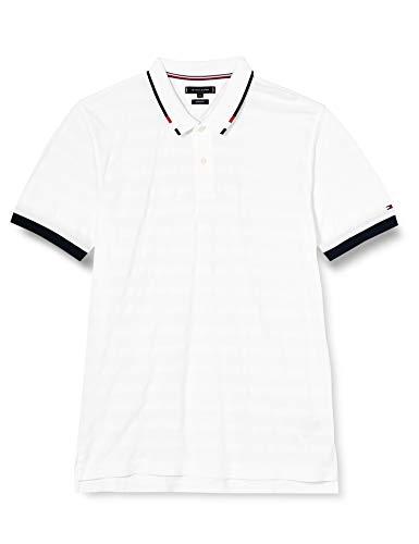 Tommy Hilfiger Global Tipped Collar REG Polo Camisa, Blanco Brillante, XXL para Hombre