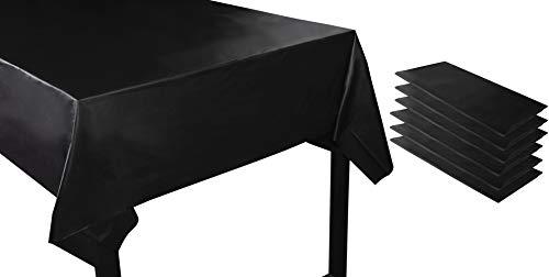 Juvale Einweg-Tischdecke (Set, 6 Stück) – Plastik, Rechteckig - Ideal für jede Party ob Draußen oder Drinnen - Perfekt für Geburtstage, Events, Gastronomie - Schwarz, 137 x 274 cm