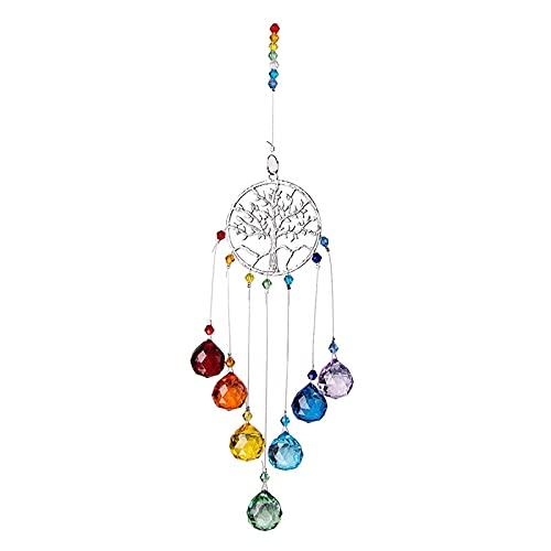 LQKYWNA Atrapasueños, Colgante De Cristal Colorido De 7 Chakras, Prisma De Bola árbol De La Vida De Cristal Colgante Atrapasol para Decoración del Hogar