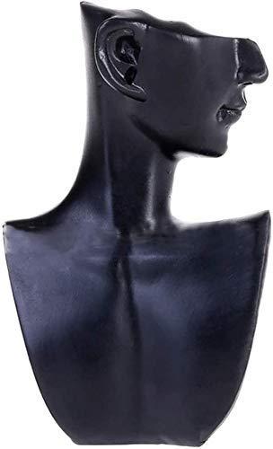 Soporte de exhibición de collar Soporte de busto de cabeza de maniquí Modelo Tienda Estante de exhibición de joyería Mostrar Pendiente Organizador colgante - Tamaño S + Negro