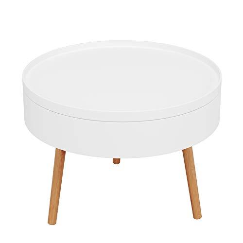 Homfa Tavolino Basso da Salotto,Tavolino di Stoccaggio da Divano Comodino,Tavolino da caffè Rotondo,Contenitore da Salotto in Legno(Bianco)