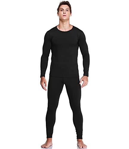 JZCreater Men Thermal Underwear Set Winter Base Layer Top & Bottom Ultra Soft Long John Set (Black,L)