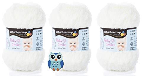 3x25 Gramm Schachenmayr Baby Smiles Lenja Soft Nr. 1002 Natur aus 100% Polyester Speichelecht, Schadstoffgeprüft, Hautfreundlich + 1 Eulen Knopf Holz zum aufnähen