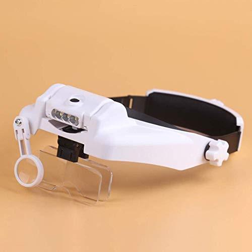 Lupa de lectura, lupa de cabeza con luces LED, manos libres, montaje en casco, lupa (1X a 8X)