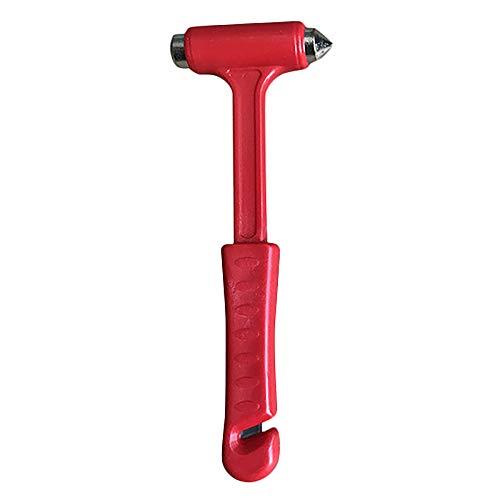 Gesh Cortador de cinturón de seguridad, herramienta de rescate de coche, martillo de seguridad, ahorro de vida, martillo de emergencia para escape, color rojo