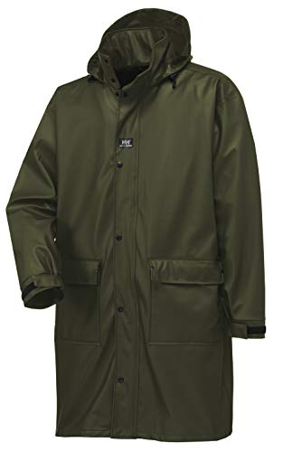 Helly Hansen Workwear Men's Impertech Guide Long Fishing and Rain Coat, Green Brown - Large