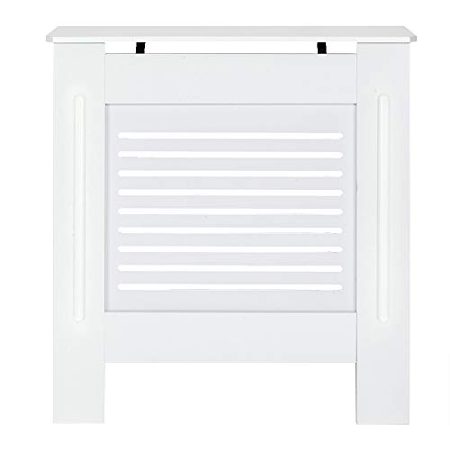 sussie daddy White Radiator Cover Cabinet, MDF Wood Radiator Covers for Living Room Entry Hallway (S, HORIZONTAL)